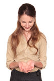 Femme d'affaires - sourire évasé de mains photos libres de droits
