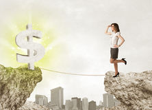 Femme d'affaires sur la montagne de roche avec une marque du dollar Image stock