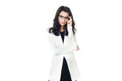 Femme d'affaires sur le fond blanc Photographie stock