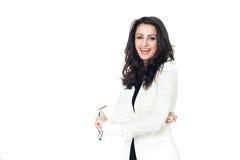 Femme d'affaires sur le fond blanc Image libre de droits