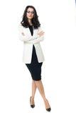 Femme d'affaires sur le fond blanc Photo stock
