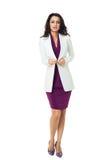 Femme d'affaires sur le fond blanc Photo libre de droits