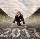 Femme d'affaires sur une route Image libre de droits