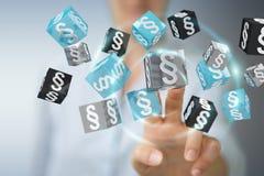 Femme d'affaires tenant et touchant des cubes en loi du rendu 3D Image libre de droits