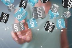 Femme d'affaires tenant et touchant des cubes en loi du rendu 3D Image stock