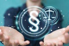 Femme d'affaires tenant et touchant le symbole de loi du rendu 3D Images stock