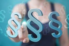 Femme d'affaires tenant et touchant le symbole de loi du rendu 3D Photos libres de droits