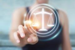 Femme d'affaires tenant et touchant le symbole de loi du rendu 3D Photo libre de droits