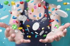 Femme d'affaires tenant et touchant les pilules de flottement 3D de médecine au sujet de Photos libres de droits