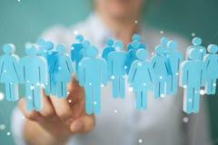 Femme d'affaires tenant et touchant 3D rendant le groupe de pe bleu Images libres de droits