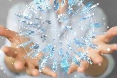 Femme d'affaires tenant et touchant 3D rendant le groupe de pe bleu Photographie stock libre de droits