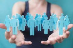Femme d'affaires tenant et touchant 3D rendant le groupe de pe bleu Photo libre de droits