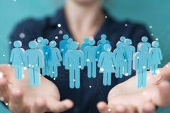 Femme d'affaires tenant et touchant 3D rendant le groupe de pe bleu Image libre de droits