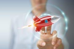 Femme d'affaires tenant et touchant un rendu de la fusée 3D Photographie stock libre de droits