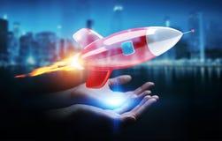 Femme d'affaires tenant et touchant un rendu de la fusée 3D Photographie stock