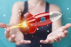 Femme d'affaires tenant et touchant un rendu de la fusée 3D Photo libre de droits