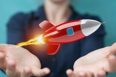 Femme d'affaires tenant et touchant un rendu de la fusée 3D Images libres de droits
