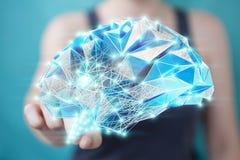 Femme d'affaires tenant l'esprit humain numérique de rayon X dans sa main 3D r Image libre de droits