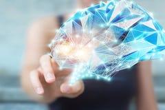 Femme d'affaires tenant l'esprit humain numérique de rayon X dans sa main 3D r Photo stock