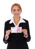 Femme d'affaires tenant l'euro 10 Photos stock