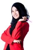 Femme d'affaires tenant la pointe Photo libre de droits