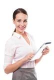 Femme d'affaires tenant le comprimé numérique photo stock