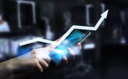 Femme d'affaires tenant le rendu numérique de la flèche 3D Images libres de droits