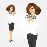 Femme d'affaires tenant une fan d'argent illustration stock
