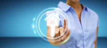 Femme d'affaires touchant la maison d'icône du rendu 3D avec son doigt Photo stock