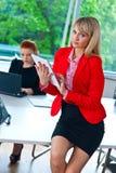 Femme d'affaires travaillant au comprimé avec le collègue à l'arrière-plan Photographie stock