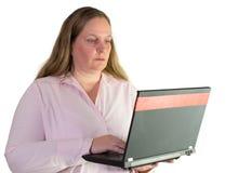 Femme d'affaires travaillant avec l'ordinateur portable Photo libre de droits
