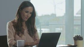 Femme d'affaires travaillant ? l'ordinateur portable Portrait de plan rapproché de personne concentrée banque de vidéos