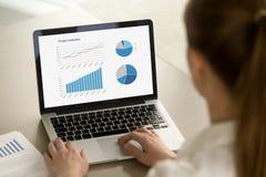 Femme d'affaires travaillant sur l'ordinateur portable avec des statistiques de projet sur le scre photos stock