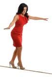 Femme d'affaires Walking sur Tightrope Photo stock
