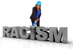 Femme d'afro-américain portant un casque de protection freinant un 3d Image stock