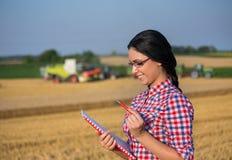 Femme d'agriculteur à la récolte images stock