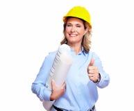 Femme d'architecte avec un plan. photo stock