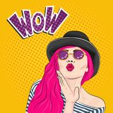 Femme d'art de bruit jolie, effet de wow Illustration de vecteur illustration stock