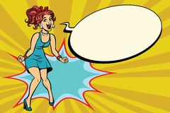Femme d'art de bruit la rétro crie avec joie, émotions positives illustration de vecteur