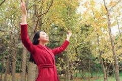 Femme d'automne/chute heureuse dans la pose gratuite de liberté Images stock