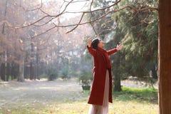 Femme d'automne/chute heureuse dans la pose gratuite de liberté Photographie stock