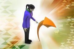 femme 3d avec la flèche Images libres de droits