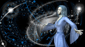 Femme d'Elf à un arrière-plan magique - rendu 3D Photo libre de droits