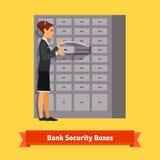 Femme d'employé de banque ouvrant le compartiment de coffre-fort illustration de vecteur