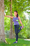 Femme d'exercice étirant la jambe de tendon Photos stock