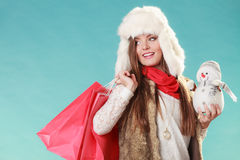 Femme d'hiver avec le petit achat de bonhomme de neige et de sacs Image libre de droits