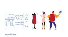Femme d'homme choisissant le croquis intérieur femelle de centre commercial du marché de vêtements de nouveau de robe de couples  illustration stock