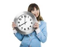 Femme d'horloge Photographie stock