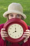 Femme d'horloge Image stock