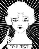 Femme d'hurlement d'aileron des années 20 de fille de cru illustration stock